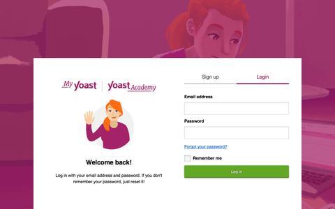 Screenshot of Login Page yoast.com - Login – MyYoast - captured Oct. 31, 2019