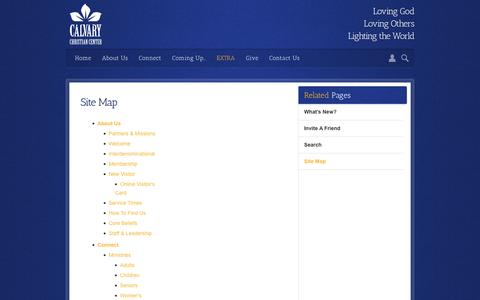Screenshot of Site Map Page calvarychristiancenter.net - Calvary Christian Center | Site Map - captured Oct. 18, 2016