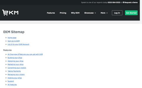 Screenshot of Site Map Page ekmpowershop.com - Sitemap - captured June 29, 2016