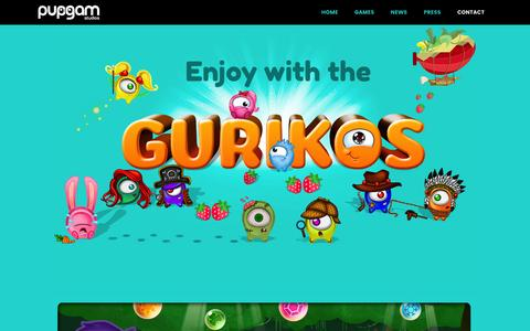 Screenshot of Home Page pupgam.com - Pupgam Studios | The creators of the Guriko Saga video games –  The creators of the Guriko Saga video games - captured July 18, 2016