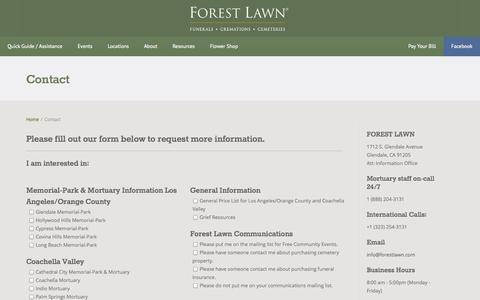 Screenshot of Contact Page forestlawn.com - Contact - Forest Lawn - captured Sept. 19, 2014