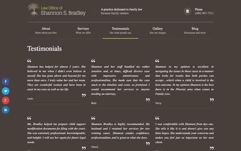 Screenshot of Testimonials Page ssbradleylaw.com - The Law Office of Shannon BradleyTestimonials - The Law Office of Shannon Bradley - captured April 1, 2016