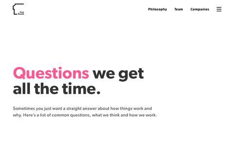 Screenshot of FAQ Page firstround.com - FAQ – First Round Capital - captured June 7, 2016