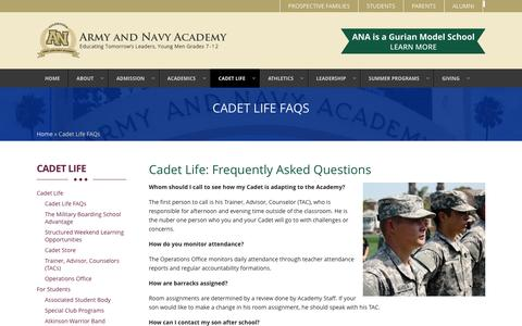 Screenshot of FAQ Page armyandnavyacademy.org - Frequently Asked Questions | Army and Navy Academy | - captured Dec. 26, 2015