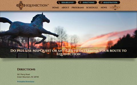 Screenshot of Maps & Directions Page equinection.org - Directions to Equinection | Green Mountain NC - captured Aug. 14, 2017