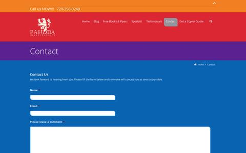 Screenshot of Contact Page denvercopier.com - Contact   Pahoda Image Products - Denver Copier Sales and Leasing - captured Oct. 1, 2014