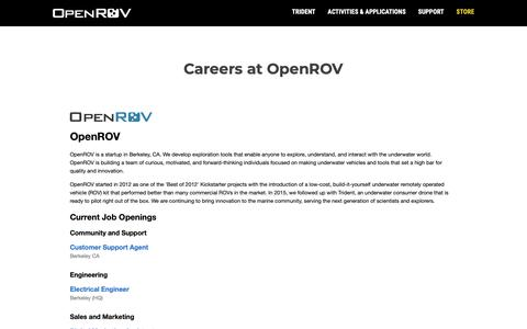 Screenshot of Jobs Page openrov.com - Careers | OpenROV - captured Nov. 8, 2018