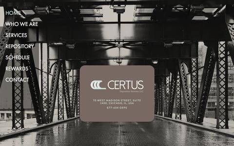 Screenshot of Home Page certusdeps.com - Certus Deposition Services, LLC - captured Oct. 2, 2014