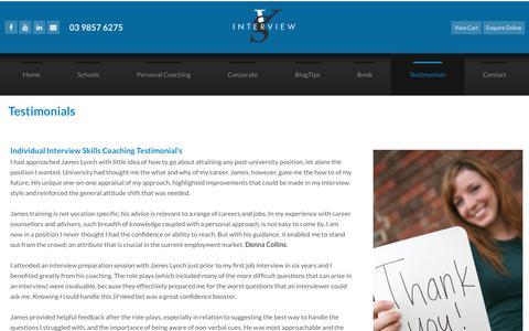 Screenshot of Testimonials Page interviewskills.com.au - Successful Interview Skills - captured Sept. 19, 2018