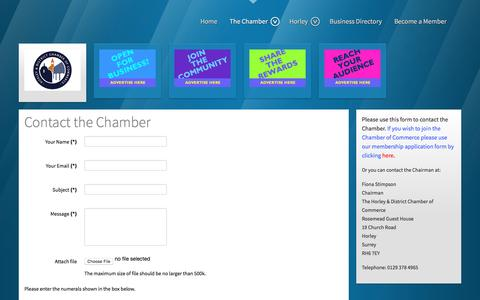 Screenshot of Contact Page horleychamberofcommerce.co.uk - Horley & District Chamber of Commerce - Contact - captured May 4, 2016