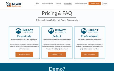 Screenshot of Pricing Page impactdatasource.com - Pricing & FAQ - Impact DataSource - captured Feb. 8, 2019