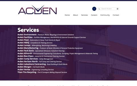 Screenshot of Services Page acden.com - Acden - The Strategic Service Provider - captured July 28, 2018