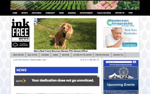 Screenshot of Press Page inkfreenews.com - News | InkFreeNews.com - captured Sept. 23, 2015