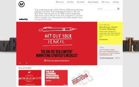 Screenshot of Home Page velocitypartners.co.uk - B2B Marketing Agency | Velocity Partners - captured Sept. 23, 2014