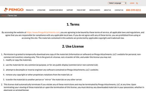Screenshot of Terms Page pengoattachments.com - Terms of Use   Pengo Attachments - captured Sept. 27, 2018