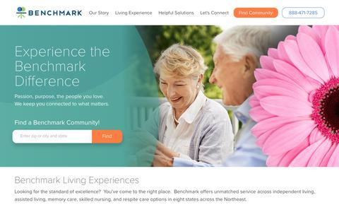 Screenshot of Home Page benchmarkseniorliving.com - Benchmark | Assisted Living | Independent Living | Memory Care - captured June 1, 2018