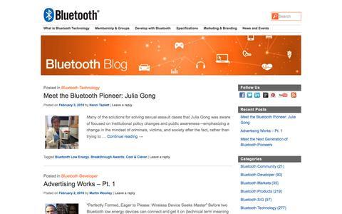 Screenshot of Blog bluetooth.com - Bluetooth Blog | Bluetooth Technology Website - captured Feb. 7, 2016