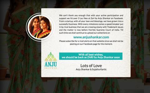 Screenshot of Home Page Login Page zari.co.in - ZARI - Anju Shankar - captured Feb. 19, 2016