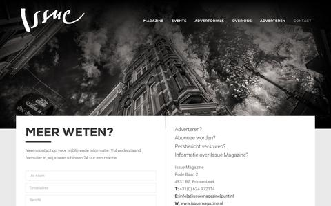 Screenshot of Contact Page issuemagazine.nl - Contact | Issue Magazine - captured Sept. 20, 2018