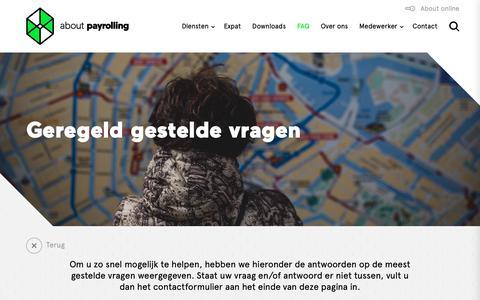 Screenshot of FAQ Page payrolling.nl - FAQ - About Payrolling - captured Oct. 2, 2018