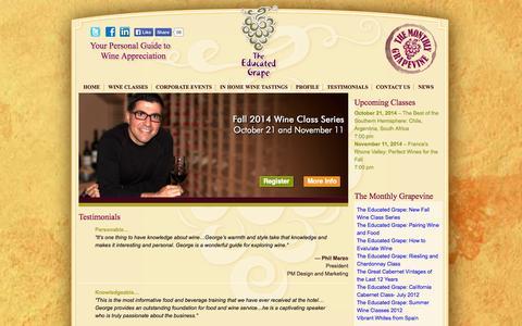 Screenshot of Testimonials Page theeducatedgrape.com - Testimonials | The Educated Grape - captured Oct. 1, 2014