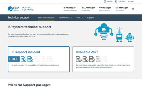 Screenshot of Support Page Terms Page ispsystem.com - Technical support | Web hosting software - captured May 28, 2017