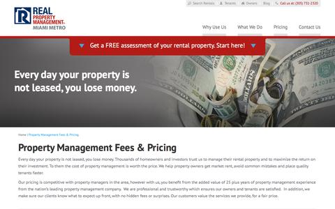 Screenshot of Pricing Page rpmmiamimetro.com - Property Management Fees Miami FL | Real Property Management Miami Metro - captured July 8, 2018