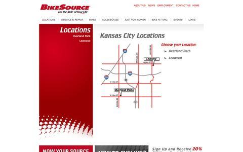 Screenshot of Contact Page Locations Page bikesourcekansascity.com - BikeSource Kansas City - captured Oct. 23, 2014