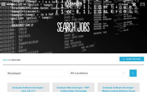 Screenshot of Developers Page itgraduaterecruitment.com - Vacancies | Latest IT Graduate Jobs  - Developer - captured Aug. 5, 2016