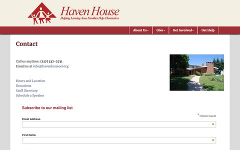 Screenshot of Contact Page havenhouseel.org - Contact - Haven House of East Lansing - captured Sept. 27, 2018