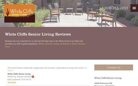 Screenshot of Testimonials Page milestoneretirement.com - Senior Living Resources | White Cliffs Senior Living - captured Jan. 28, 2017