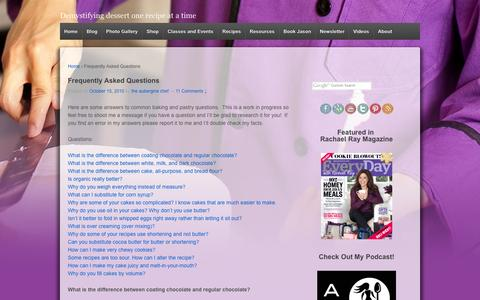 Screenshot of FAQ Page theauberginechef.com - Frequently Asked Questions - The Aubergine Chef - captured Oct. 26, 2014