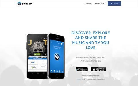 Screenshot of Home Page shazam.com - Shazam Home - captured July 11, 2014