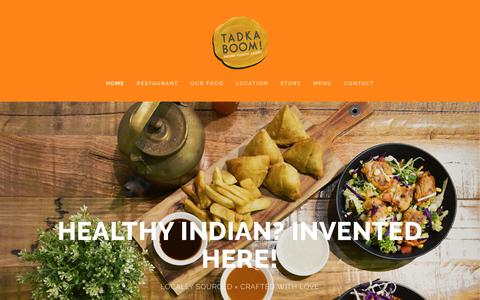 Screenshot of Home Page tadkaboom.com.au - Tadka Boom! Indian Fusion Kitchen - captured Oct. 20, 2018