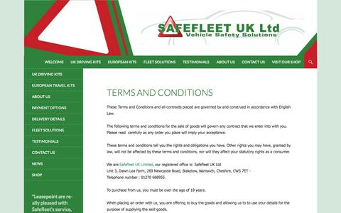 Screenshot of Terms Page safefleet.co.uk - Terms and Conditions   Safefleet - captured Oct. 1, 2014