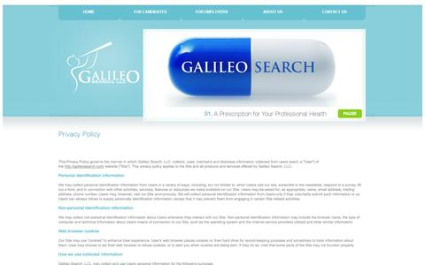 Screenshot of Privacy Page galileosearch.com - Privacy Policy - Galileo Search, LLC - captured Oct. 1, 2014