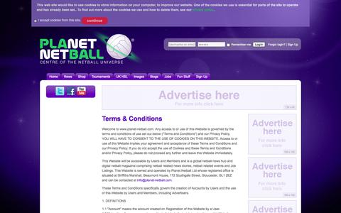 Screenshot of Terms Page planet-netball.com - Terms & Conditions   Planet Netball - captured Sept. 30, 2014