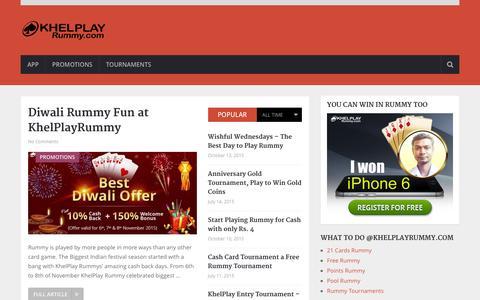 Screenshot of Blog khelplayrummy.com - Rummy Blog - KhelPlay Rummy Official Blog - captured Nov. 26, 2015