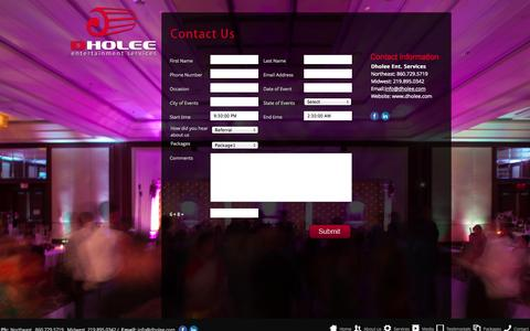 Screenshot of Contact Page dholee.com - Dholee Entertainment Services - captured Oct. 5, 2014