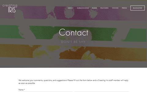 Screenshot of Contact Page creatingiris.org - Contact Ń Creating Iris | A Literary Magazine for LGBTQ+ Young Adults - captured Dec. 13, 2015