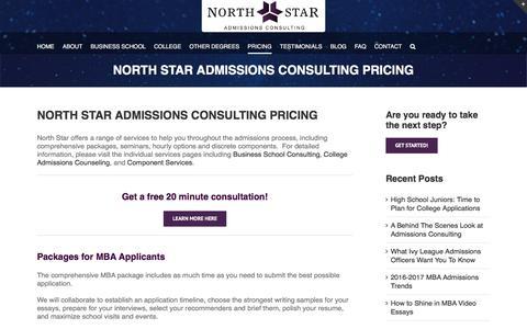 Screenshot of Pricing Page northstaradmissions.com - North Star Admissions Consulting-Consulting Pricing - captured April 1, 2016