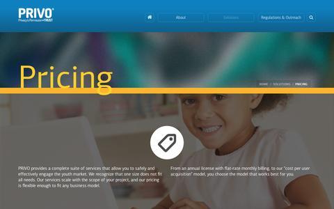 Screenshot of Pricing Page privo.com - PRIVO   –  Pricing - captured Jan. 4, 2017