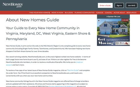 Screenshot of About Page newhomesguide.com - About New Homes Guide - New Homes Guide For DC, VA, MD & WV - captured Dec. 13, 2017