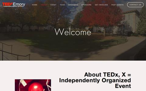 Screenshot of About Page tedxemory.org - About — TEDxEmory - captured Sept. 20, 2018