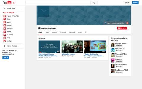 Screenshot of YouTube Page youtube.com - Cia Assekuransa  - YouTube - captured Oct. 23, 2014