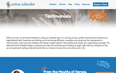Screenshot of Testimonials Page activecalendar.com - Active Calendar: Testimonials from Calendar Heroes - captured July 24, 2016