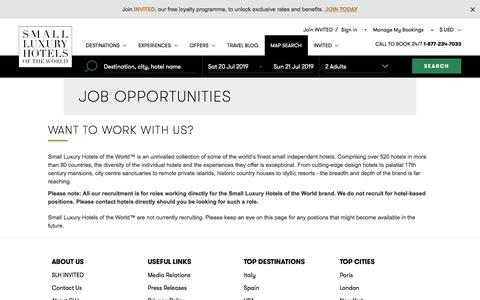 Screenshot of Jobs Page slh.com - Jobs at SLH | Luxury Boutique Hotels & Resorts - captured July 19, 2019