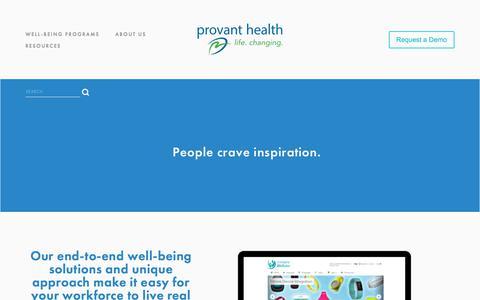 Screenshot of Home Page provanthealth.com - Provant Health   Comprehensive Wellness Programs - captured July 21, 2018