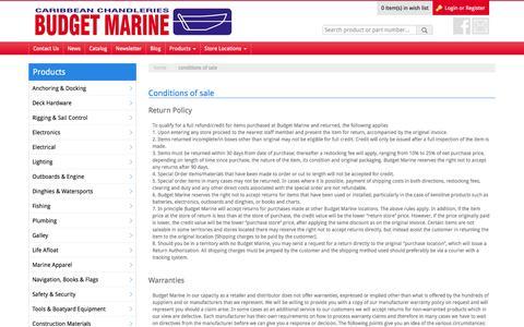 Screenshot of Terms Page budgetmarine.com - Conditions of sale - Budget Marine - captured Jan. 7, 2016