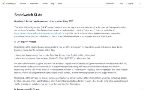 Brandwatch SLAs | Brandwatch